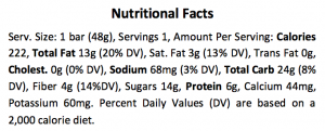 BANGLE Nutrition Facts