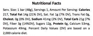 CHOMP Nutrition Facts